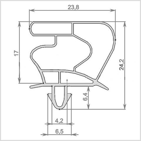 Уплотнитель для холодильного шкафа Ариада R750 VS (стекло) 1570*765 мм по пазу(023/021)