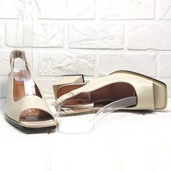 Красивые женские босоножки кожаные Brocoli H150-9137-2234 Cream.