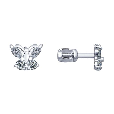 94020535 - Серьги-пусеты бабочки из серебра