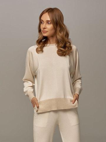 Женский джемпер белого цвета из шелка и кашемира - фото 2