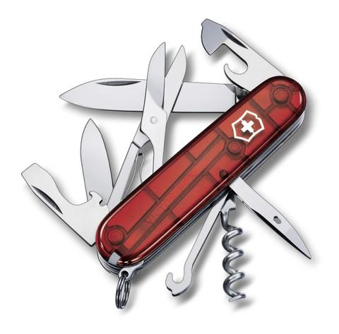Нож Victorinox Climber, 91 мм, 14 функций, полупрозрачный красный
