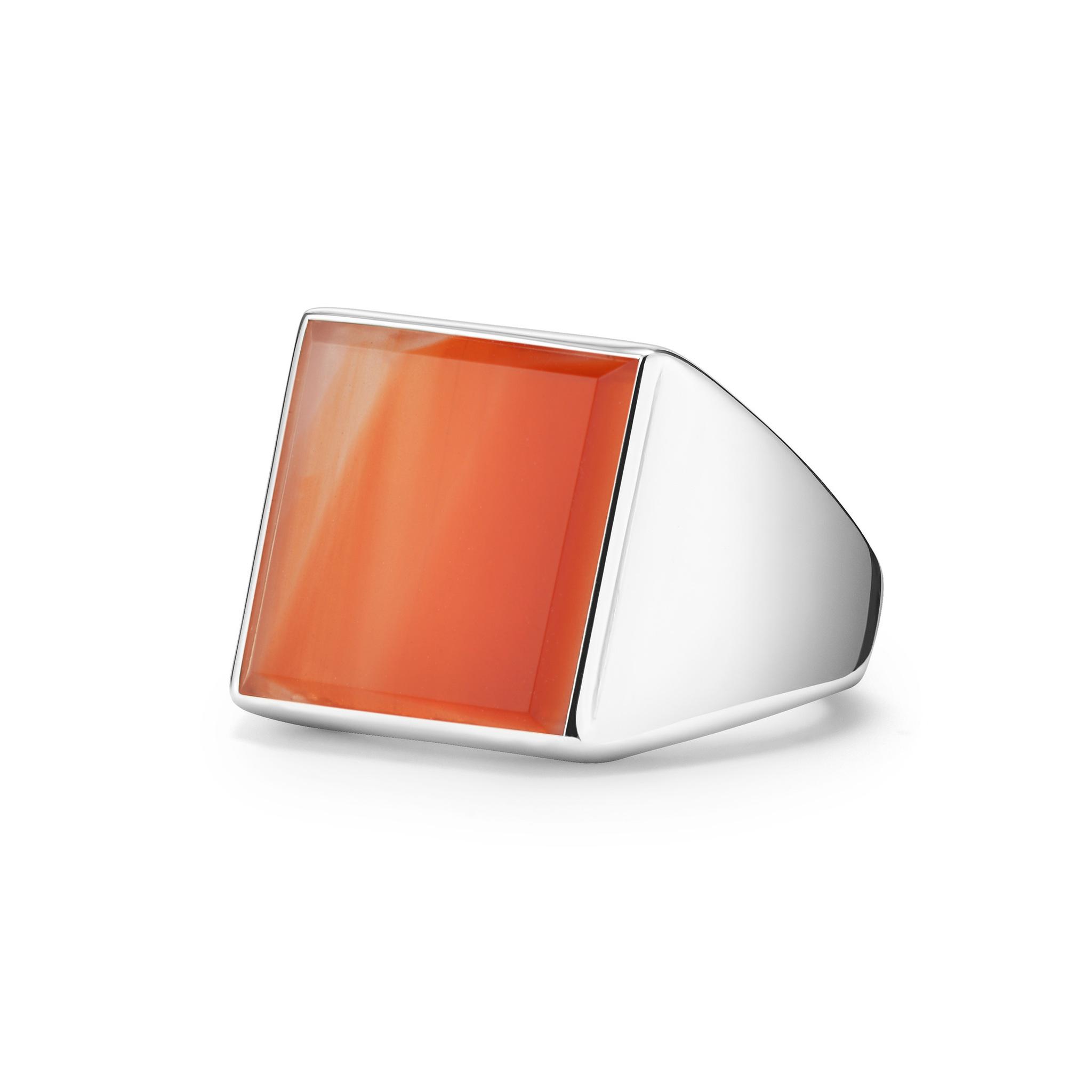 Кольцо-печатка SQUARE с сердоликом