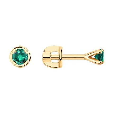 3020511  - Серьги-гвоздики из золота с изумрудами
