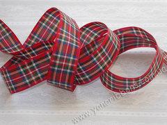 Лента текстильная красно-синяя шотландка ширина 25 мм