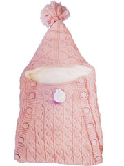Папитто. Конверт вязаный на пуговицах полушерстяной с подкладкой велсофт, розовый вид 1