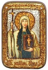 Инкрустированная Икона Святая Равноапостольная Нина, просветительница Грузии 15х10см на натуральном дереве, в подарочной коробке