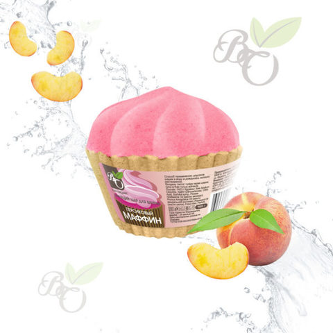Бурлящий Маффин для ванн «Персик», Bliss organic