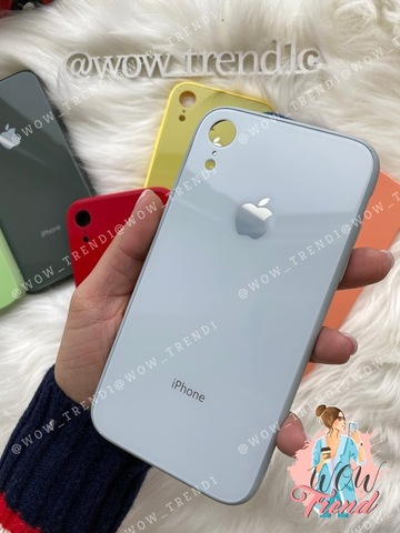 Чехол iPhone XR Glass Pastel color Logo /mist blue/