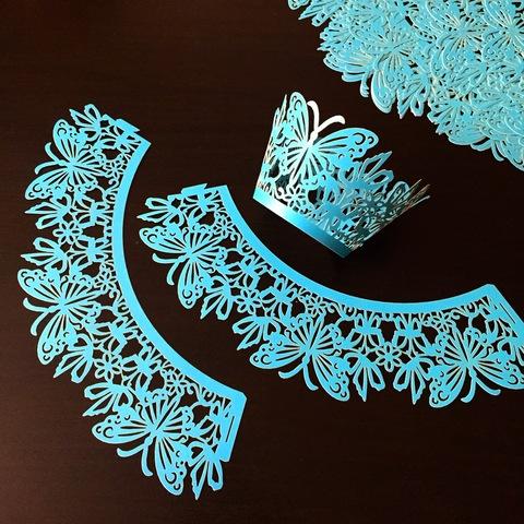 Юбочки бумажные для декорирования капкейков 10шт (210х50мм) ГОЛУБЫЕ