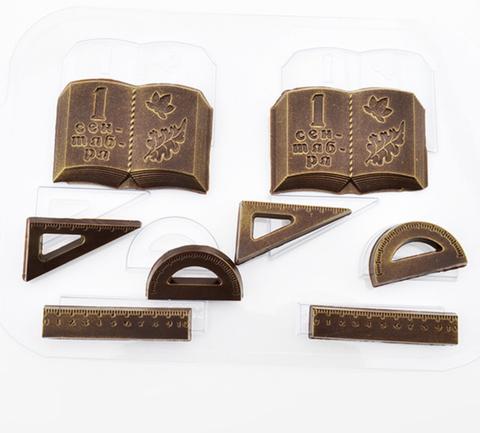 Пластиковая форма для шоколада ср. ШКОЛЬНЫЙ НАБОР №2 (линейка, книга, транспортир)