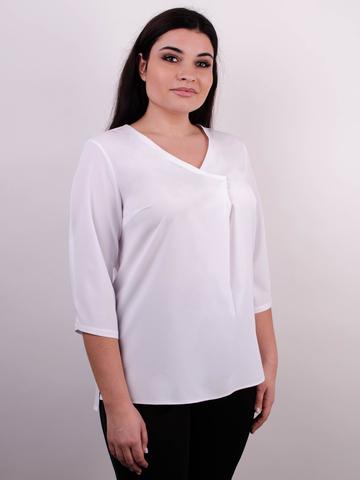 Леона. Оригинальная блуза size plus. Белый.