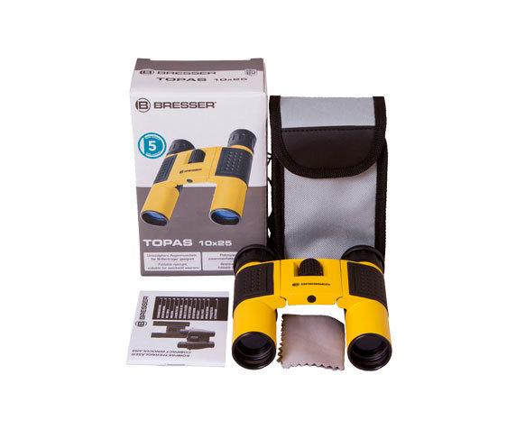 Бинокль Bresser Topas 10x25 Yellow: комплект поставки