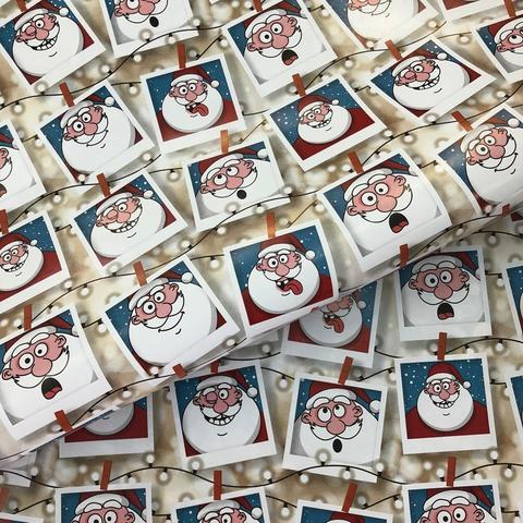 Бумага подарочная упаковочная Фотографии деда мороза (Италия)