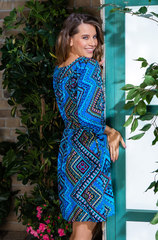 Летнее вискозное платье с длинным рукавом синий
