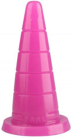 Розовый рельефный анальный конус - 18,7 см.