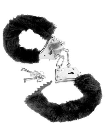 Металлические наручники с черным мехом Fetish Fantasy Series Beginner's Furry Cuffs - Black