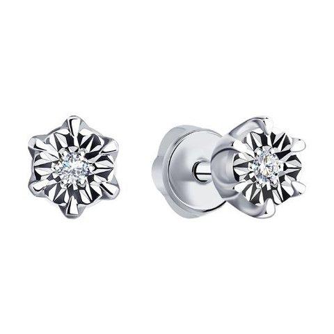 1021119 - Серьги-гвоздики из белого золота с бриллиантами