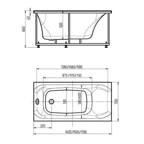 Ванна акриловая Aquatek Альфа 140х70см. накаркасе с сливом-переливом. схема