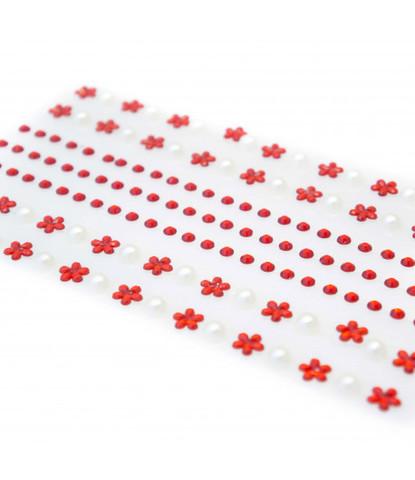 Стразы самоклеющиеся цветочки +жемчуг 152 шт красные