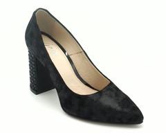 Туфли черные натуральная кожа с декоративным каблуком