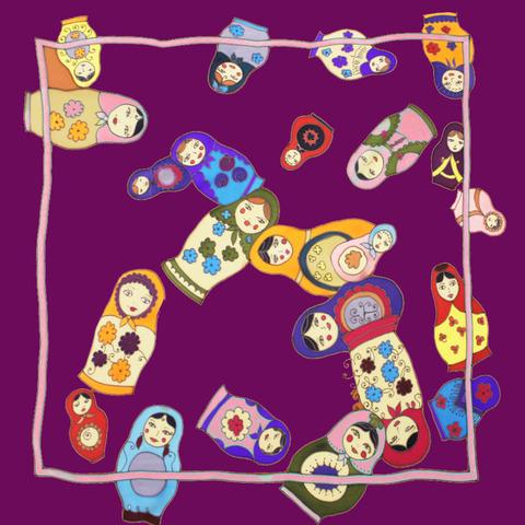 Шелковый платок батик Матрешки фиолет С-60