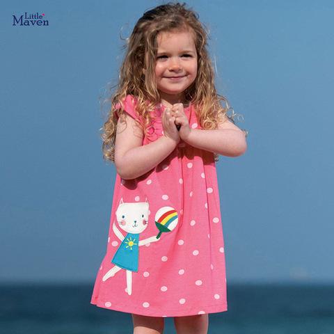 Платье для девочки в горох Little maven Кошечка