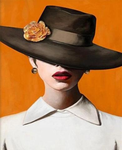 Алмазная Мозаика 30x40 Дама в шляпе на желтом фоне (Арт. MHZS196)