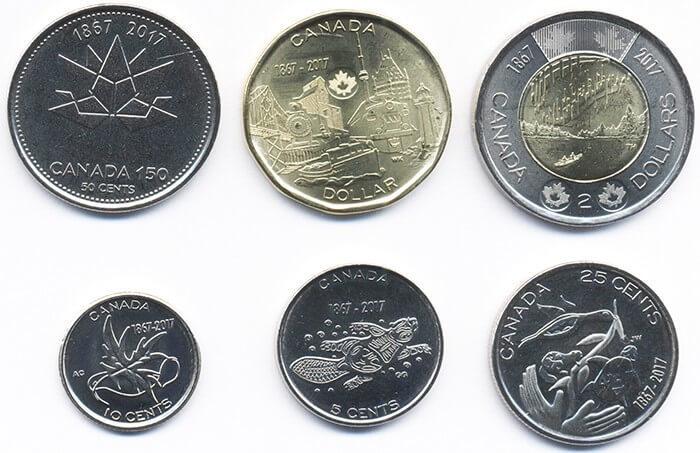 "Набор ""150 лет Конфедерации"". 6 монет. 2017 год. Канада"