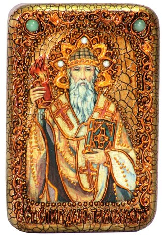 Инкрустированная Икона Святитель Спиридон Тримифунтский 15х10см на натуральном дереве, в подарочной коробке