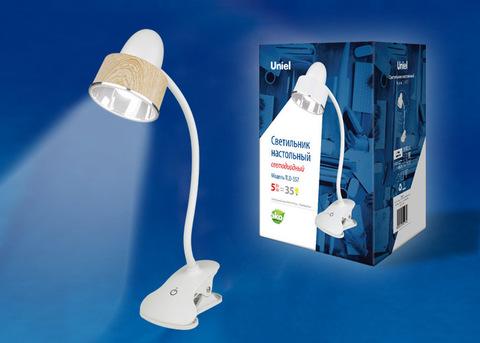 TLD-557 Brown/LED/350Lm/5500K/Dimmer Светильник настольный «прищепка», 5W. Сенсорный выключатель. Коричневый. ТМ Uniel