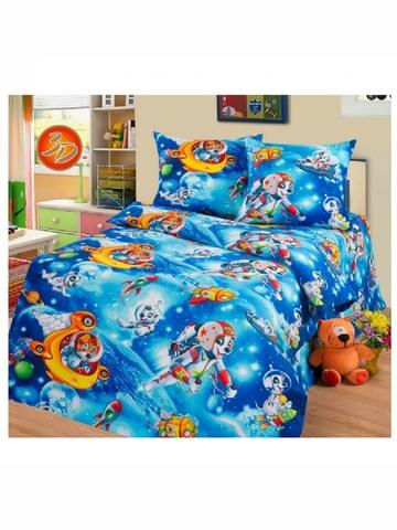Простынь детская, 1.5 спальная (150х220). Бязь (100% хлопок), плотность 125 г/м2. Космос