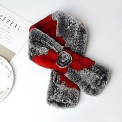 Вязаный меховой шарф-воротник (кролик) серо-терракотовый