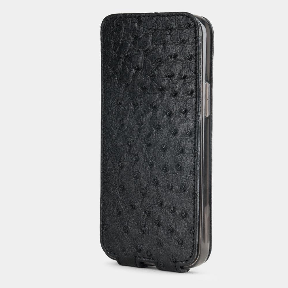 Чехол для iPhone 12 Mini из натуральной кожи страуса, черного цвета