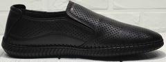 Летние слипоны туфли мужские кожаные деловой кэжуал Ridge Z-291-80 All Black.