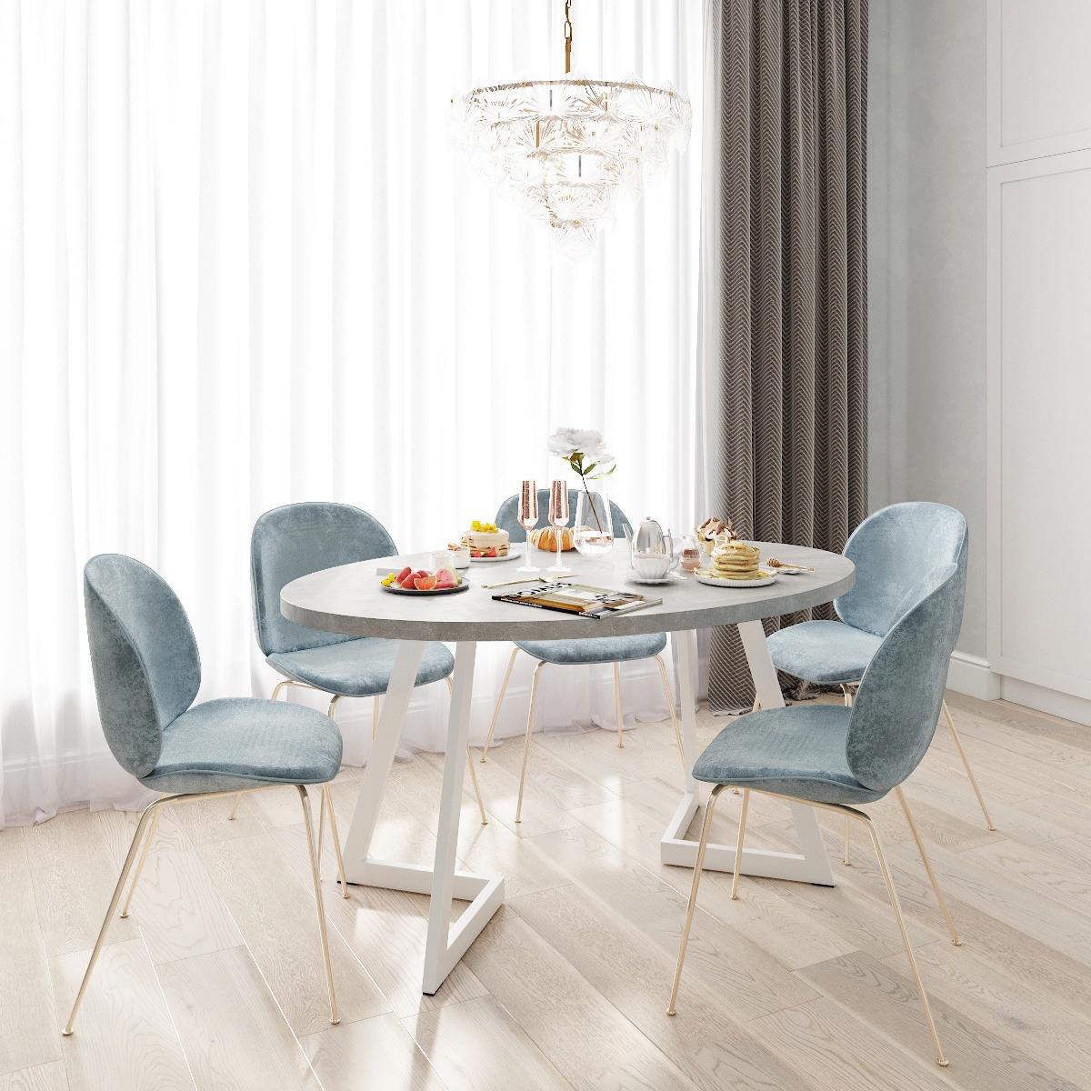 Обеденный стол ДОМУС Диннер-2 бетон серый/металл белый
