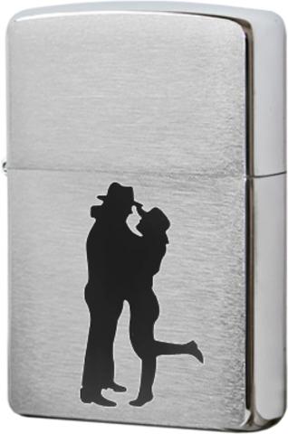 Зажигалка Zippo Cowboy Couple с покрытием Brushed Chrome, латунь/сталь, серебристая, матовая123