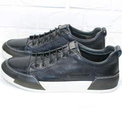 Мужские кожаные туфли кеды из кожи осень весна Luciano Bellini C6401 TK Blue.
