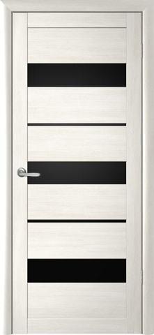 Дверь Фрегат ALBERO Прага, стекло чёрный акрилат, цвет кипарис белый, остекленная