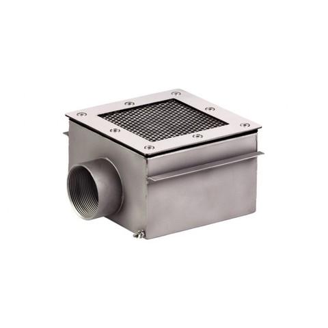 Донный слив квадратный сетчатый 150х150х100 нержавеющая сталь AISI-304 внутреннее подключение 2