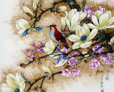 Алмазная Мозаика 20x30 Птица на распускающейся ветке дерева