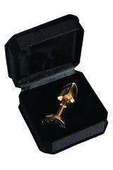 Золотистая маленькая анальная втулка с прозрачным кристаллом - 6 см.