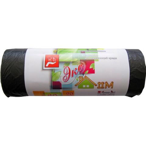 Мешки для мусора на 60 л Экодом черные (ПНД, 7 мкм, в рулоне 20 шт, 58х68 см)
