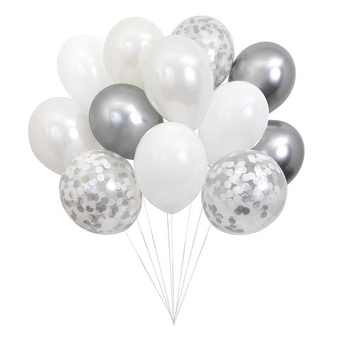 Связка шаров, серебряная (в наборе 12 шт)