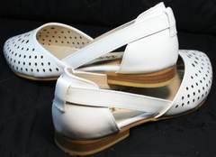 Удобные балетки с закрытым носом и пяткой Evromoda 286.85 Summer White.