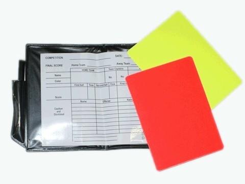 Набор карточек для футбольного арбитра. В комплекте: 1 карандаш, 1 карточка