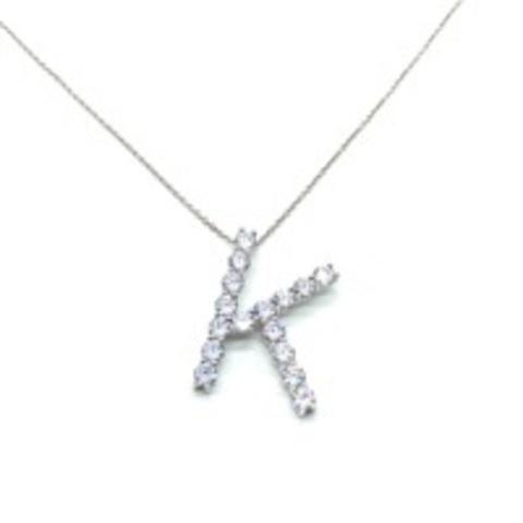 Подвеска из серебра с ослепительными цирконами буква K