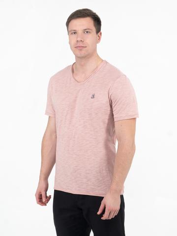 Мужская футболка «Великоросс» бело-лилового цвета V ворот
