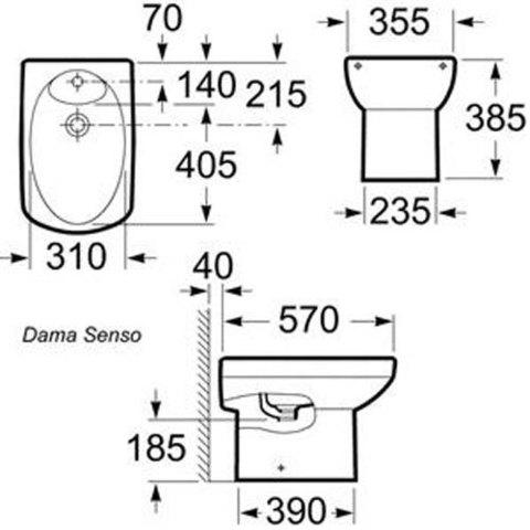 Биде напольное Roca Dama Senso  35751400 схема
