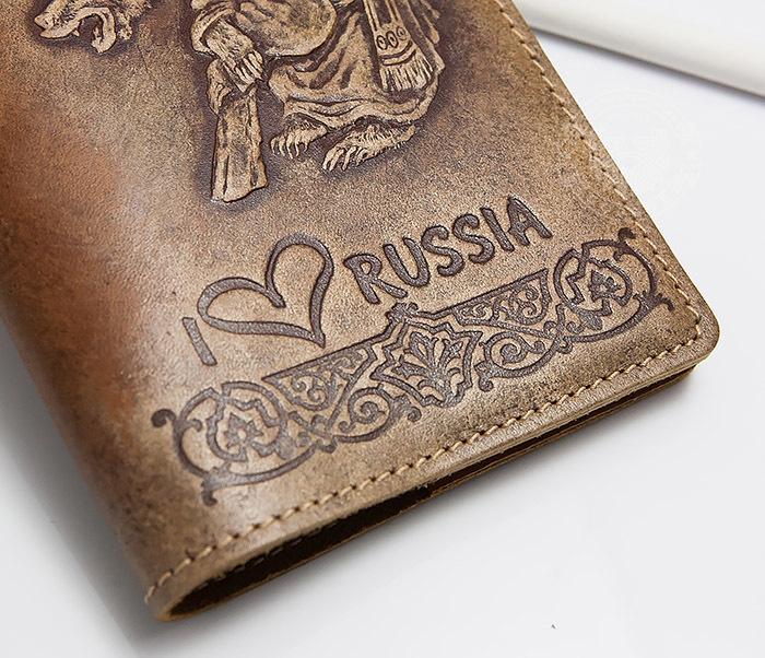BY14-32-05 Обложка на паспорт с тиснением «I Love Russia» фото 03