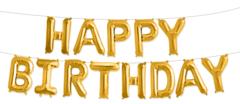 Фольгированная надписьHAPPY BIRTHDAY золотая
